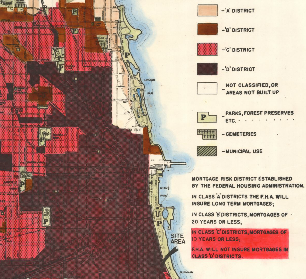 A 1938 FHA map of Chicago. Note the loan guidelines for each color-coded zone on the bottom right.