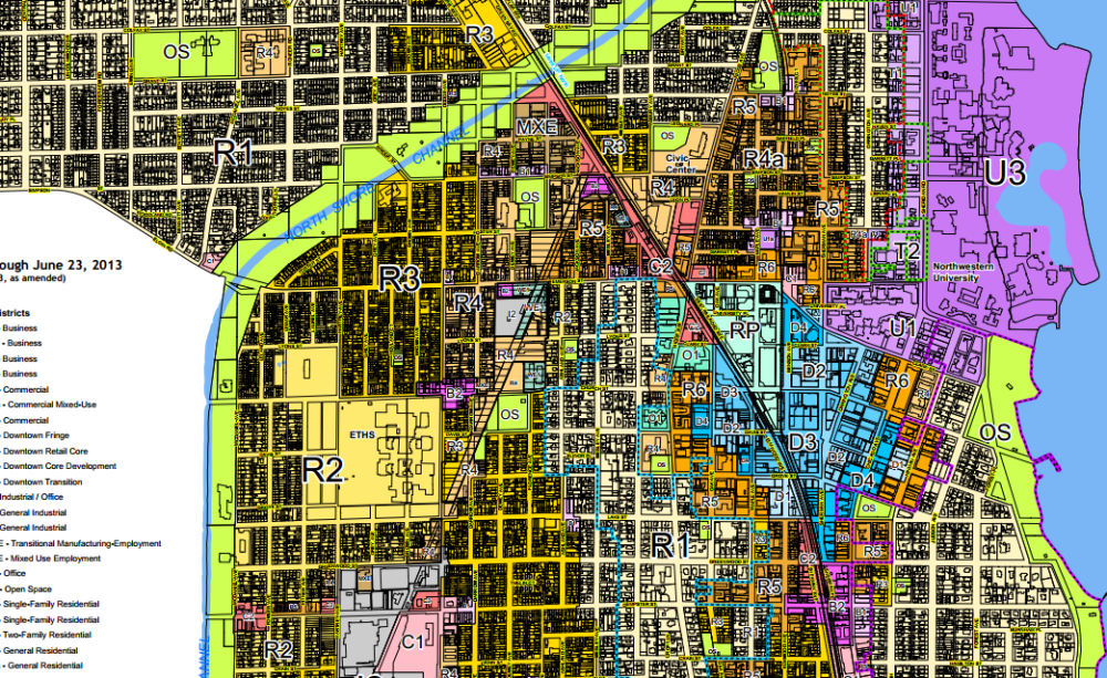 Evanston's zoning map illustrates the issue: everywhere except for the blue Downtown zones in the center - and the darkest R5 and R6 zones around it - multi-family development is either illegal or requires extremely impractical minimum lot sizes.