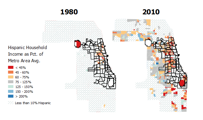 The growth of Hispanics in Chicago and suburban Cook County. Between 1980 and 2010, many tens of thousands of middle-class Hispanics have moved from the city to the suburbs, or in some cases moved there directly from Puerto Rico or abroad.