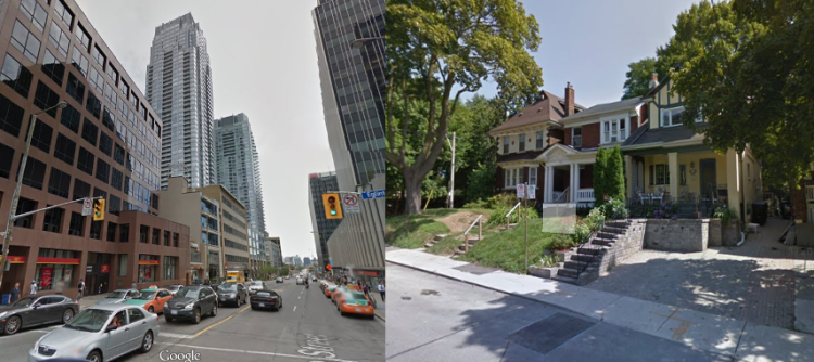 These two blocks are about a quarter of a mile from each other in outlying Toronto. Dense towers, protected single family homes.