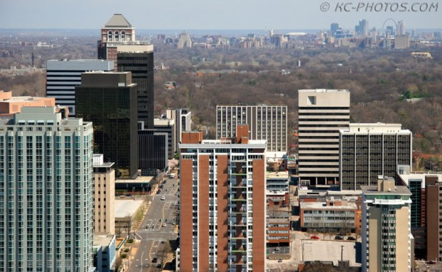 Downtown St. Louis (background) has more jobs, but suburban Clayton (foreground) has higher office rents and half the vacancy rate. Credit: http://s29.photobucket.com/user/jeffvstl/media/downtownfromclayton1.jpg.html