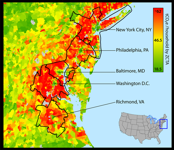 Little islands of low per-capita emissions in dense urban centers. Credit: CoolClimate Network, UC-Berkeley